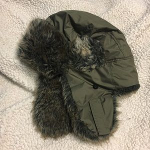 BDG Green Hunter's Hat with Fur